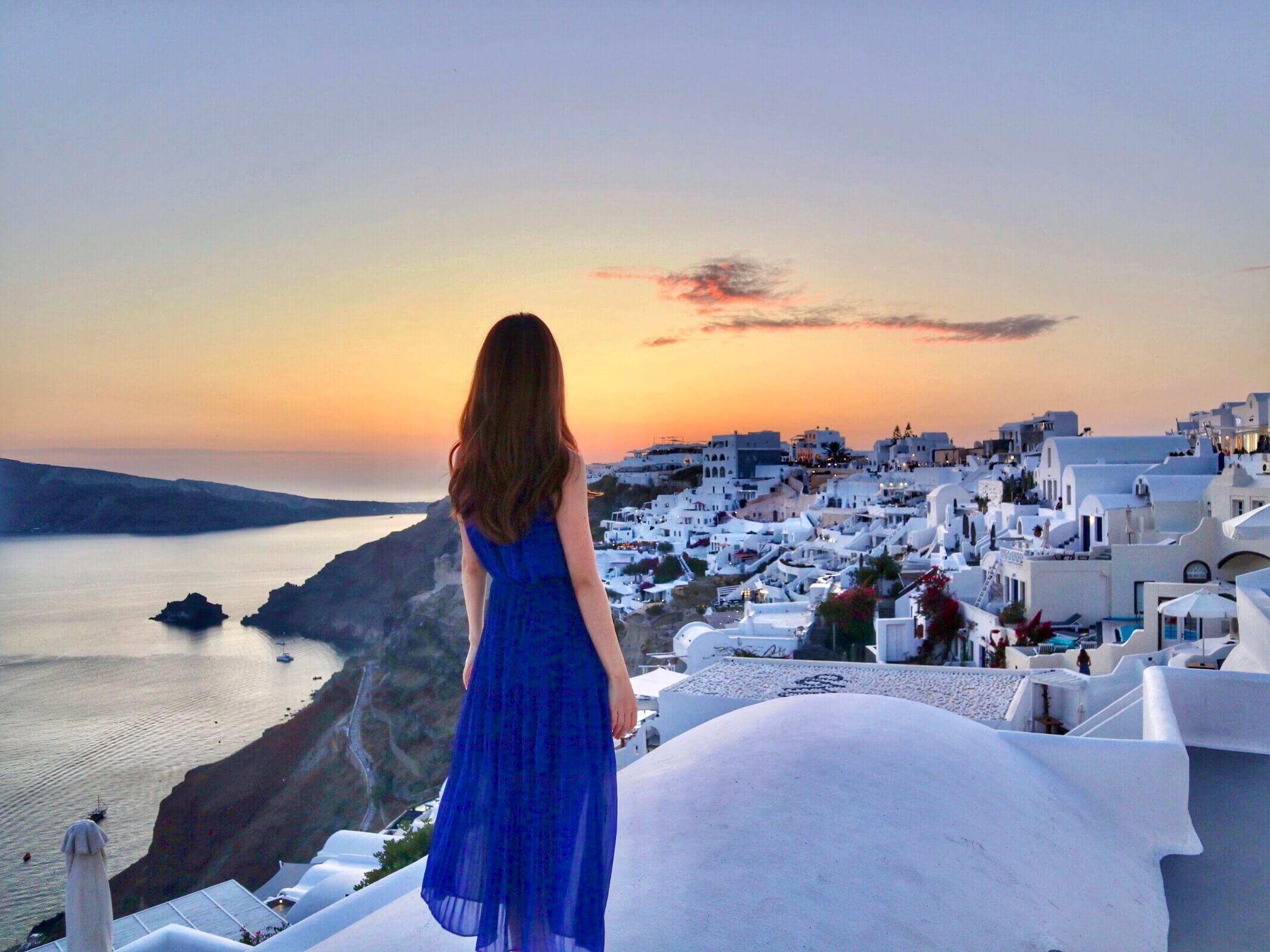 憧れのギリシャ【サントリーニ島】で望む世界一の夕日♡